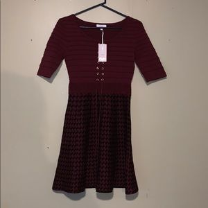 Maroon and black skater dress